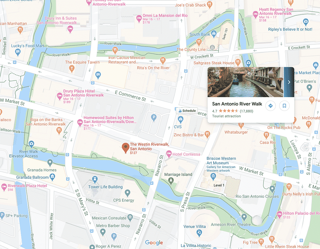 Map showing location of the Westin Riverwalk wedding venue in San Antonio